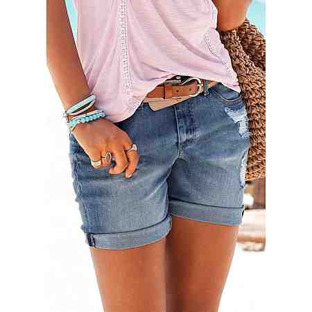 Buffalo London Jeans-Bermudas mit Destroyed-Effekten