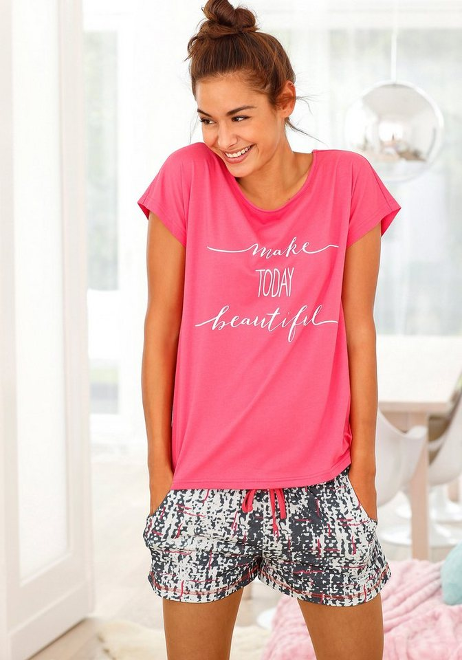 Buffalo Shorty mit gemusterter Shorts & T-Shirt mit Print in koralle/gemustert