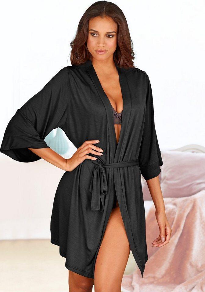 s.Oliver RED LABEL Bodywear Kimonojacke mit Spitzenpasse in fließender Qualität | Bekleidung > Jacken > Kimono-Jacken | Schwarz | s.Oliver RED LABEL Bodywear