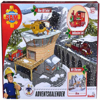 SIMBA Spielzeug-Feuerwehr »Feuerwehrmann Sam Figur Auto Adventskalender«, (Adventskalender)