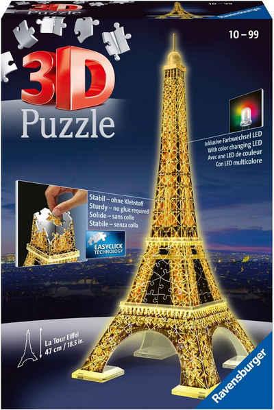 Ravensburger 3D-Puzzle »Eiffelturm bei Nacht«, 216 Puzzleteile, mit Leuchtmodul inkl. LEDs; Made in Europe, FSC® - schützt Wald - weltweit