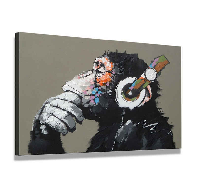 Visario Leinwandbild »1 teiliges Wandbild auf Leinwand 80 x 60 cm fertig auf Rahmen gespannt von Visario«, Affe