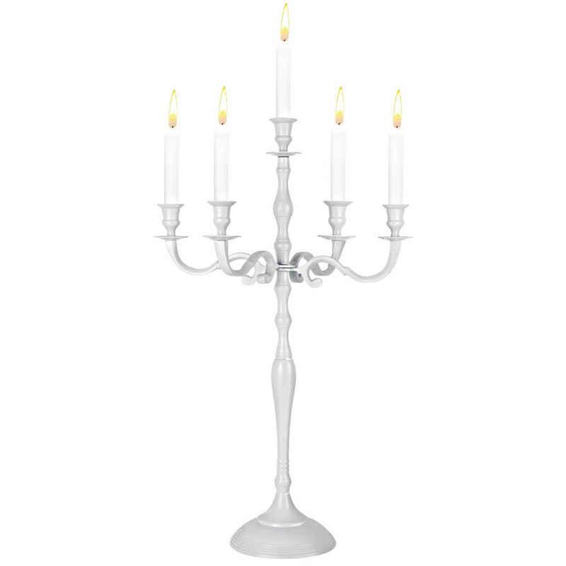 Deuba Kerzenständer, 1, 3 oder 5-armig verschied. Größen Kerzenleuchter Silber Gold oder Weiß Metall Leuchter Weiß 40cm