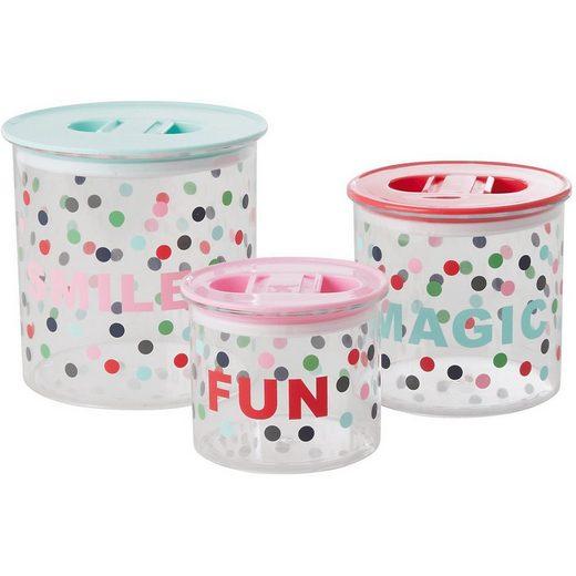 """rice Frischhaltedose »3-tlg. Set Aufbewahrungsboxen """"Smile, Magic, Fun"""",«"""
