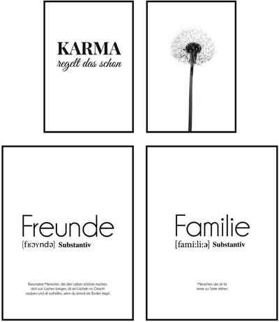Reinders! Wandbild »Wandbilder Set Modernes Glück Freunde - Liebe - Modern - Zusammen - Glück«, Schriftzug (4 Stück)