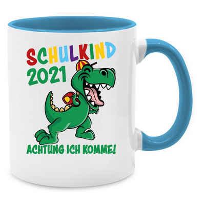 Shirtracer Tasse »Schulkind 2021 Achtung ich komme! - bunt - Tasse Einschulung - Tasse zweifarbig«, Keramik