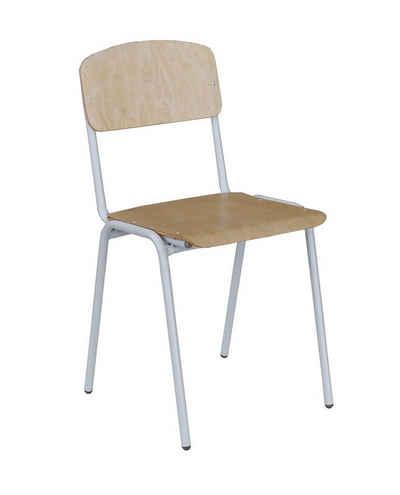 Lüllmann Besucherstuhl »SET - Besucherstuhl Stuhl Stühle Konferenzstühle Büromöbel stapelbar - Birke klar lackiert« (Spar Set, 10 Stück), stapelbar, kompl. montiert