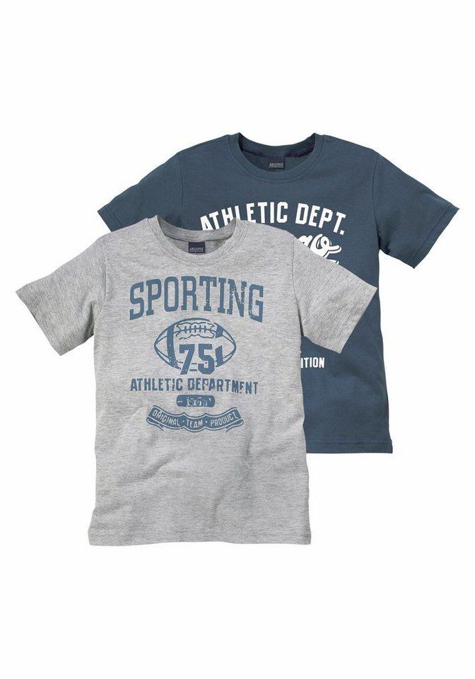 Arizona T-Shirt (Packung, 2 tlg.) in grau+blau