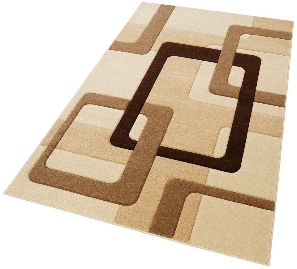 Teppich, my home, »Maxim«, handgearbeiteter Konturenschnitt in beige