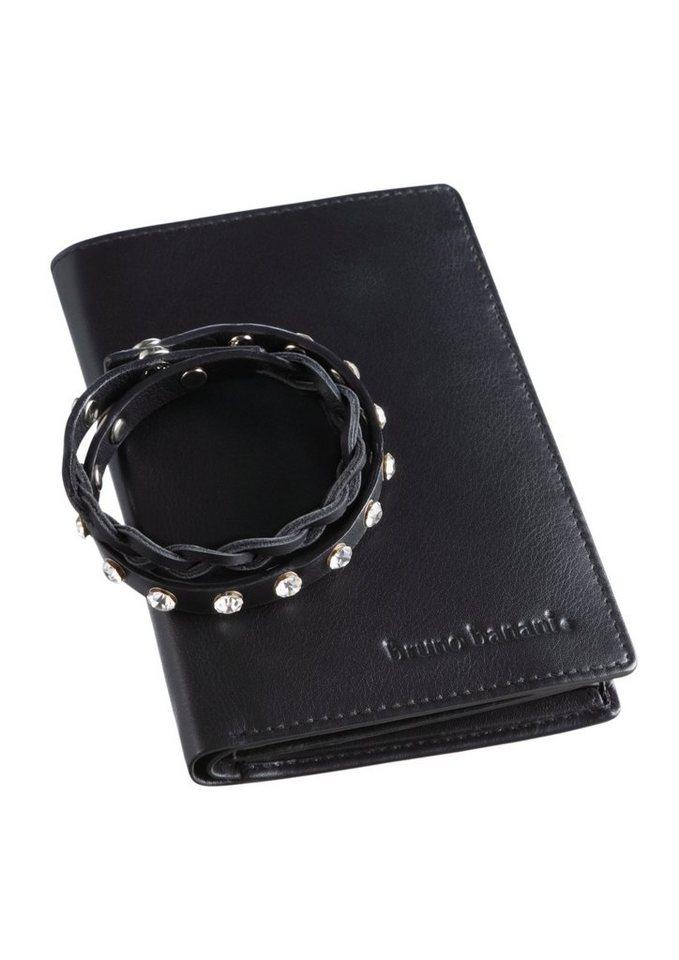 Bruno Banani Set Armband & Geldbörse aus Leder in schwarz