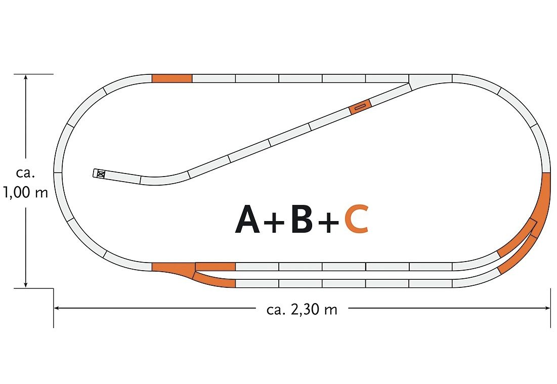 Roco Schienenset, Spur H0, »Gleisergänzungsset C - Gleichstrom«