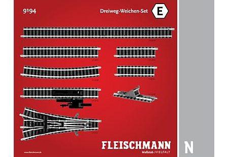 Fleischmann® Set: Schienen, Spur N, »Dreiweg-Weichen-Set«
