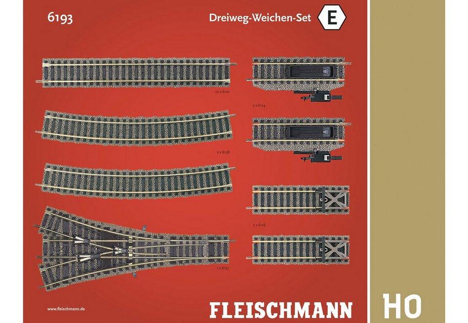 Fleischmann® Set: Schienen-Ergänzung, Spur H0, »Dreiweg-Weichen-Set«