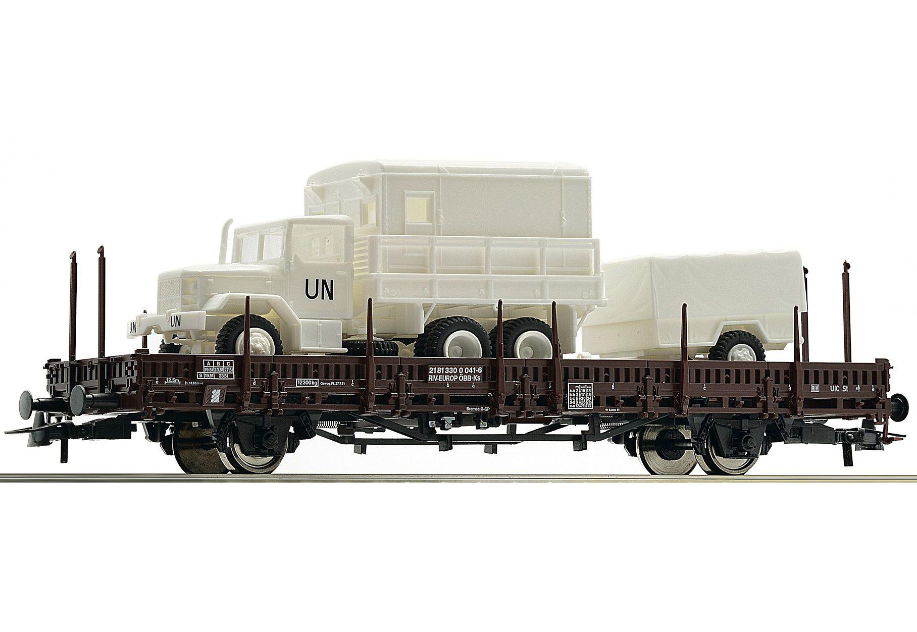 Roco Güterwagen, Spur H0, »Rungenwagen der ÖBB mit LKW - Gleichstrom«