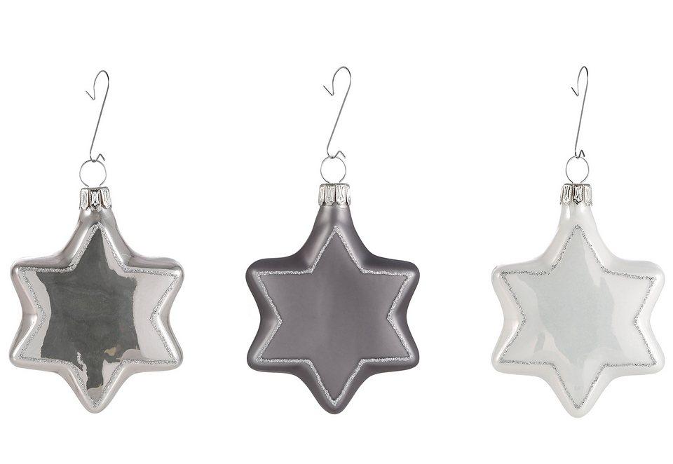 Thüringer Glasdesign TGS-Christbaumschmuck »Sterne« (3tlg.) in silberfarben