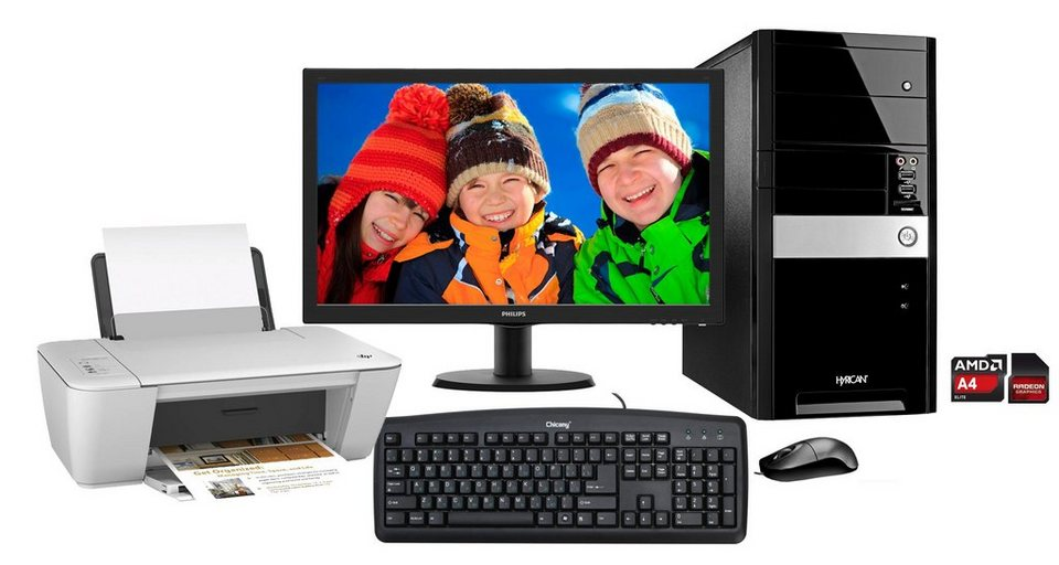 Hyrican PC Set, AMD A4-7300, 8GB, 2TB, Windows 10 + Monitor + Drucker »PC-Set SET00976« in schwarz