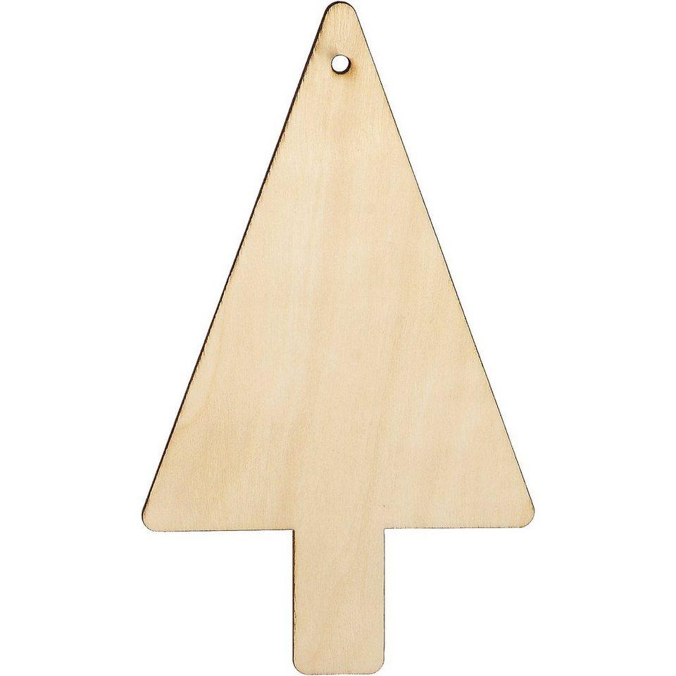 SUNNYSUE Holzanhänger Tannenbaum zum Bemalen, 6 Stück
