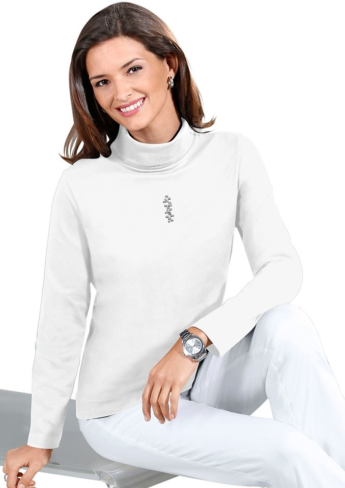 Classic Basics Shirt mit Metallplättchen-Applikation in ecru