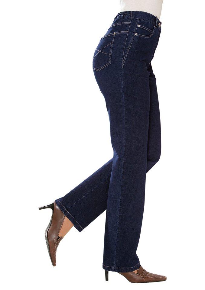 Classic Basics Jeans mit seitlichen Einsätzen in dark blue