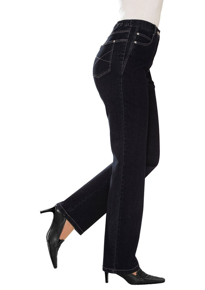 Classic Basics Jeans mit seitlichen Einsätzen in schwarz