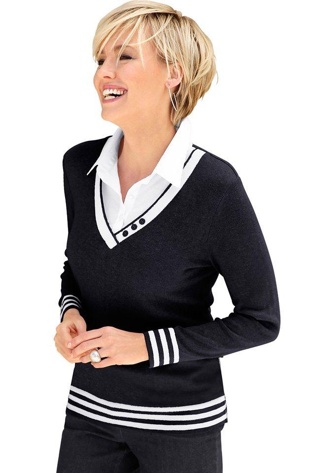 Collection L. 2-in-1-Pullover mit Zierknöpfen am V-Ausschnitt in schwarz