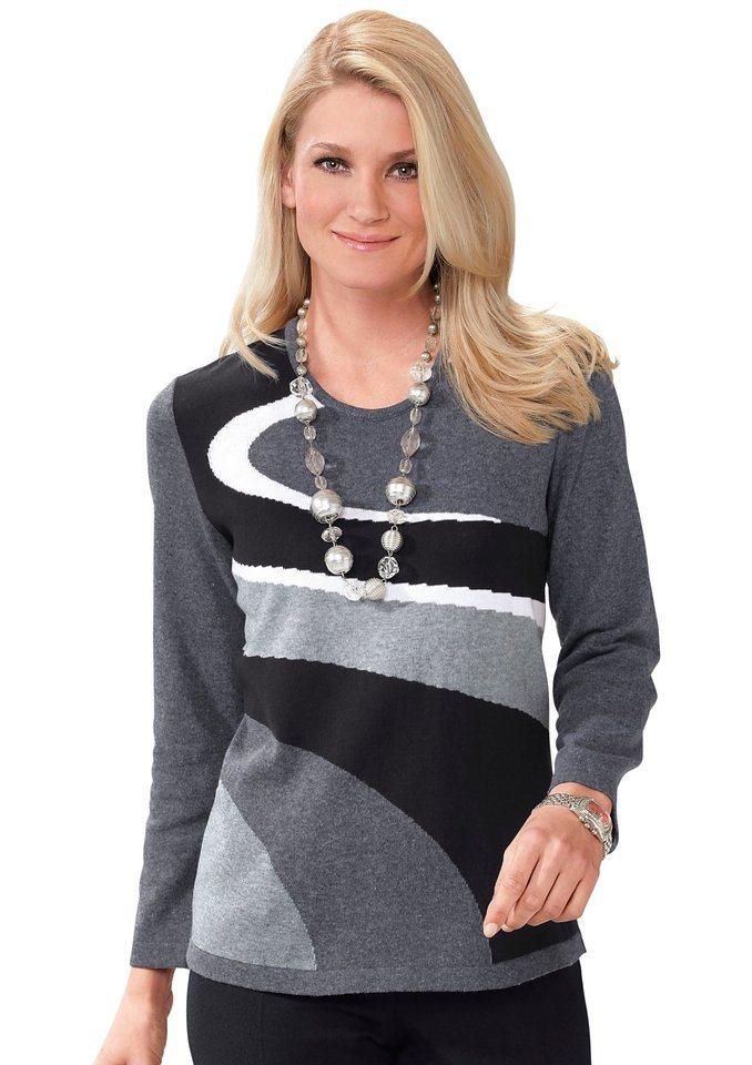 Classic Basics Pullover mit Rundhals-Ausschnitt in grau-schwarz