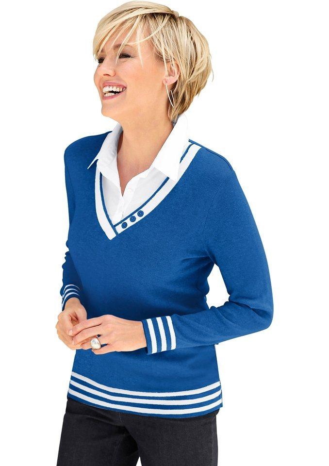 Casual Looks 2-in-1-Pullover mit Zierknöpfen am V-Ausschnitt | Bekleidung > Pullover > 2-in-1 Pullover | Blau | Casual Looks