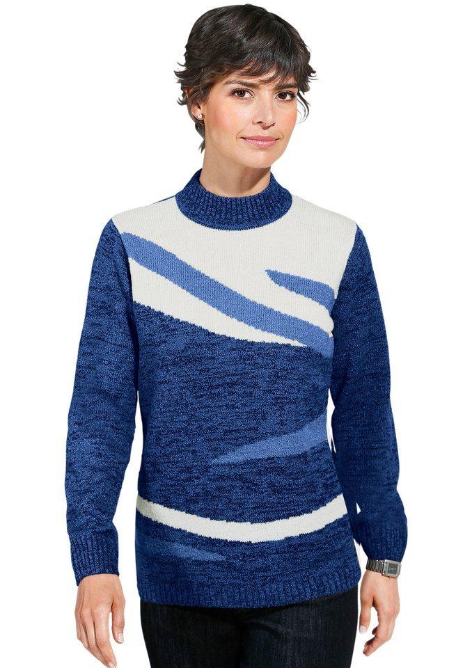Classic Basic Pullover mit kontrastreichem Intarsienmuster in blau-gemustert