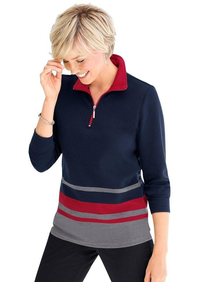 Collection L. Shirt mit sportivem Troyerkragen in marine-rot-gestreift