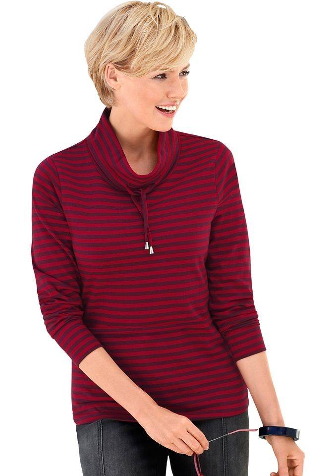 Collection L. Shirt mit Tunnelzug und Stopper am Kragen in rot-gestreift