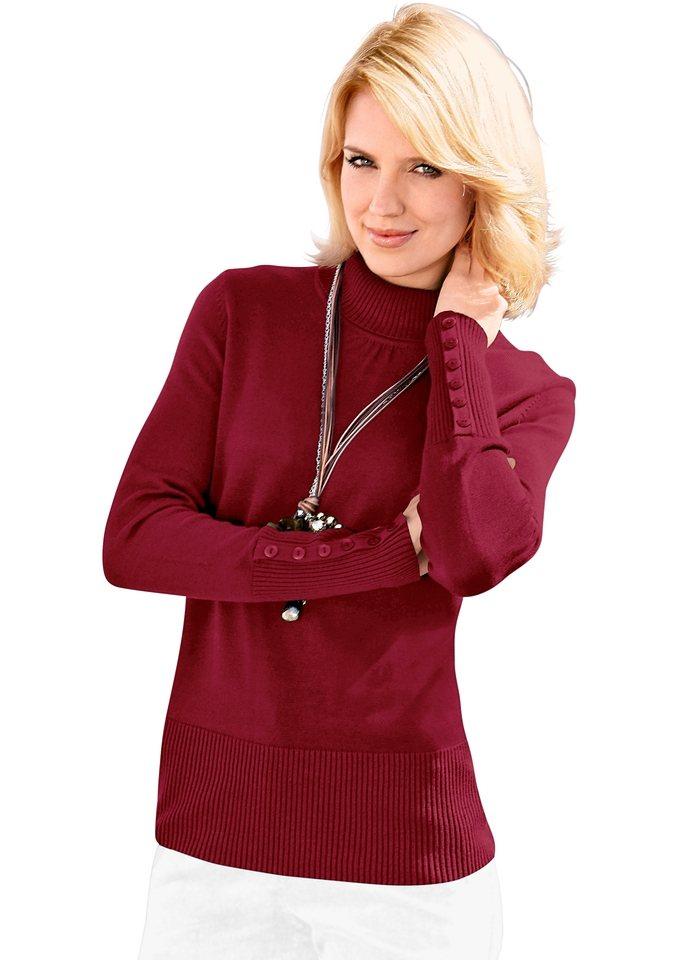Classic Inspirationen Pullover mit höherem Rippbund an Saum in himbeerrot