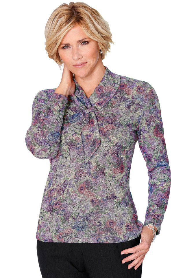 Classic Pullover in Feinstrick-Qualität in flieder-gemustert