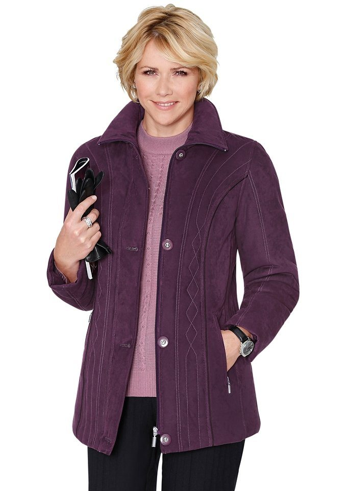 Classic Jacke mit dekorativer Steppung in pflaume