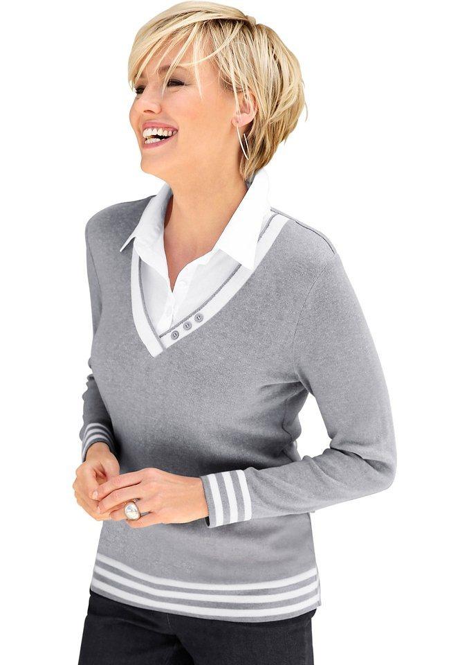 Casual Looks 2-in-1-Pullover mit Zierknöpfen am V-Ausschnitt | Bekleidung > Pullover > 2-in-1 Pullover | Grau | Baumwolle | Casual Looks