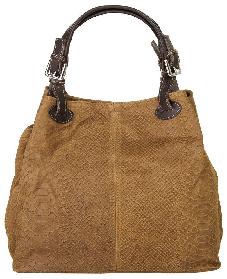 Samantha Look Leder Damen Shopper mit Python-Prägung in cognac