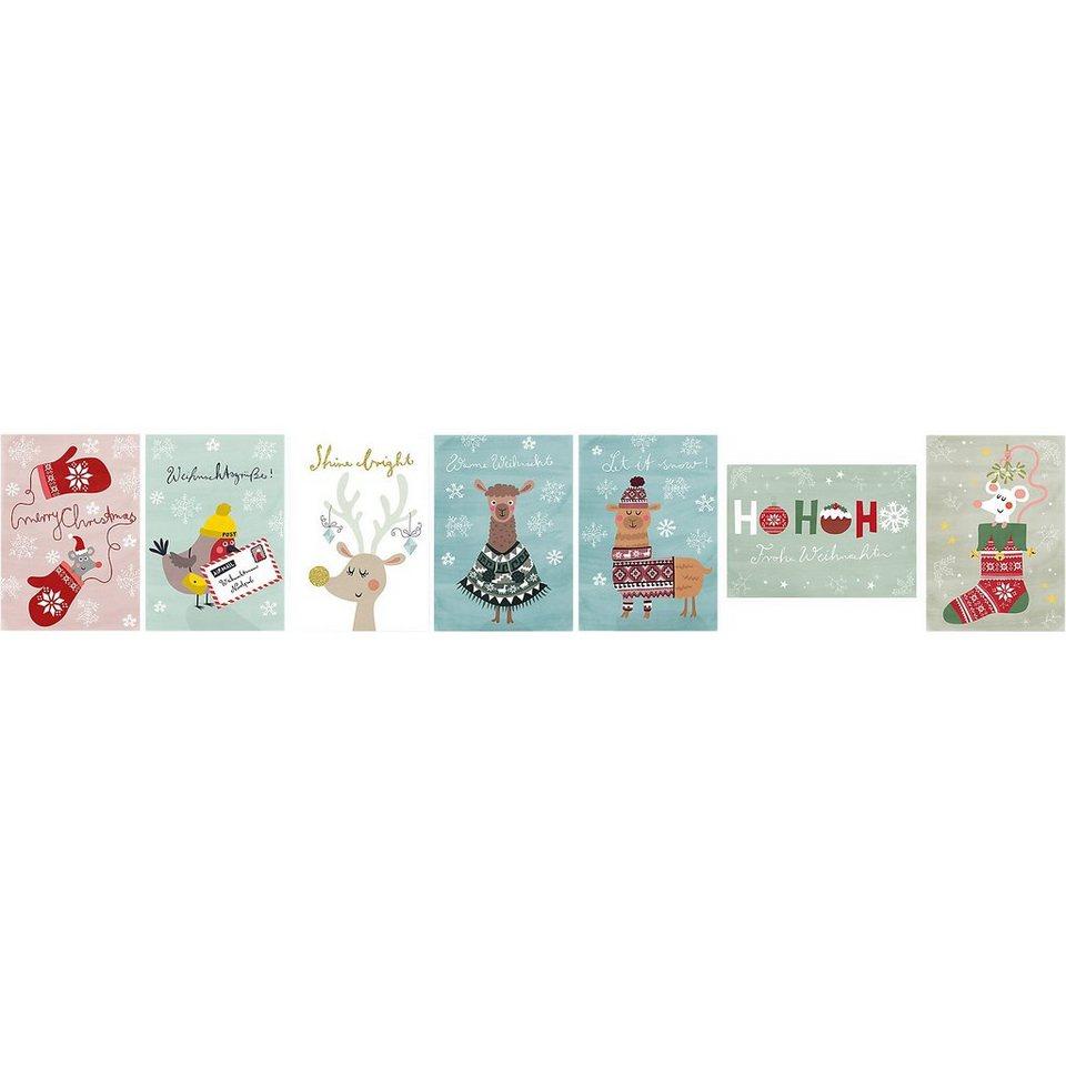 Grätz Verlag Weihnachtspostkarten-Set Tiere, 7 Stück