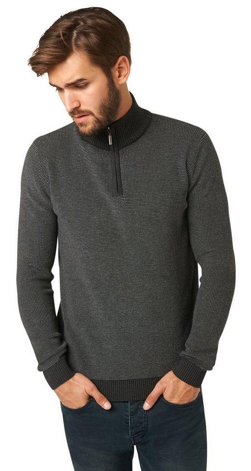 TOM TAILOR Pullover »Struktur-Pullover mit Stehkragen« in black grey melange