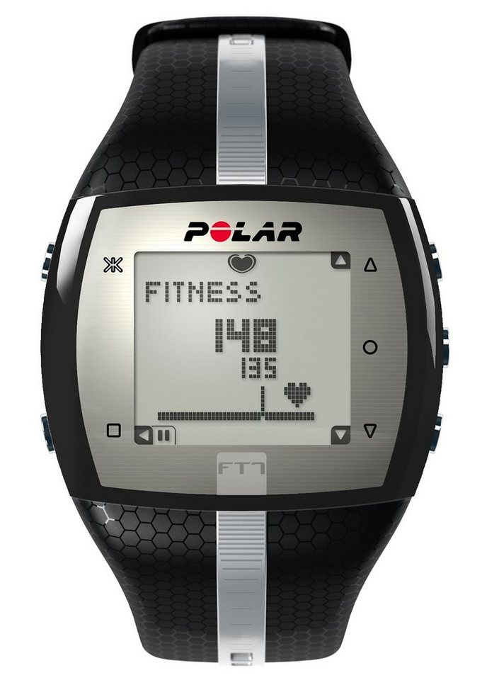 Polar Fitness Pulsuhr, »FT7 Black Silver«, inkl. Brustgurt in blau-schwarz