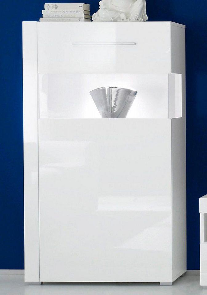 Vitrine, Höhe 129 cm in weiß