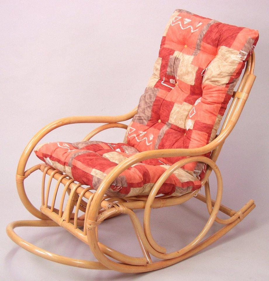 home affaire rattan schaukelstuhl inklusive auflage