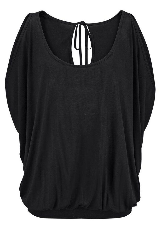 LASCANA Shirt mit Schulterschlitzen in schwarz