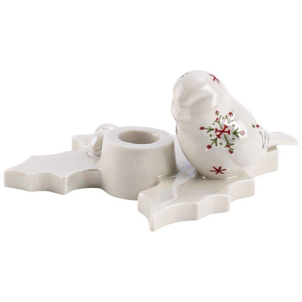 VILLEROY & BOCH Kerzenhalter Vogel auf Ilex 10,5x4c »NewModern Christmas« in Dekoriert