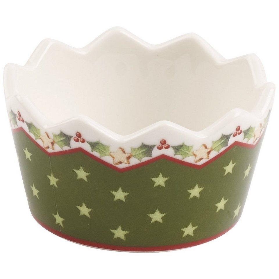 VILLEROY & BOCH Teelichthalter grün 3,5cm »Winter Bakery Decoration« in Dekoriert