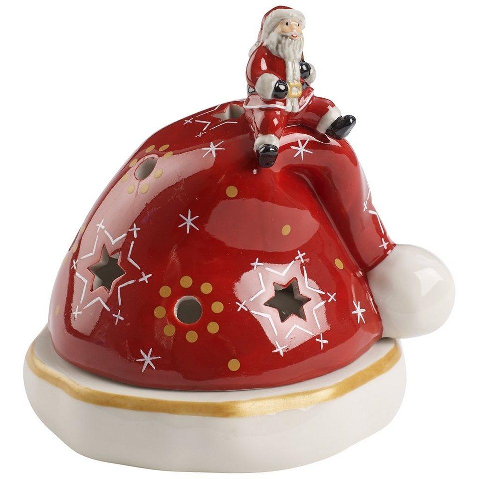 VILLEROY & BOCH Windlicht Mütze 12cm »Christmas Light« in Dekoriert