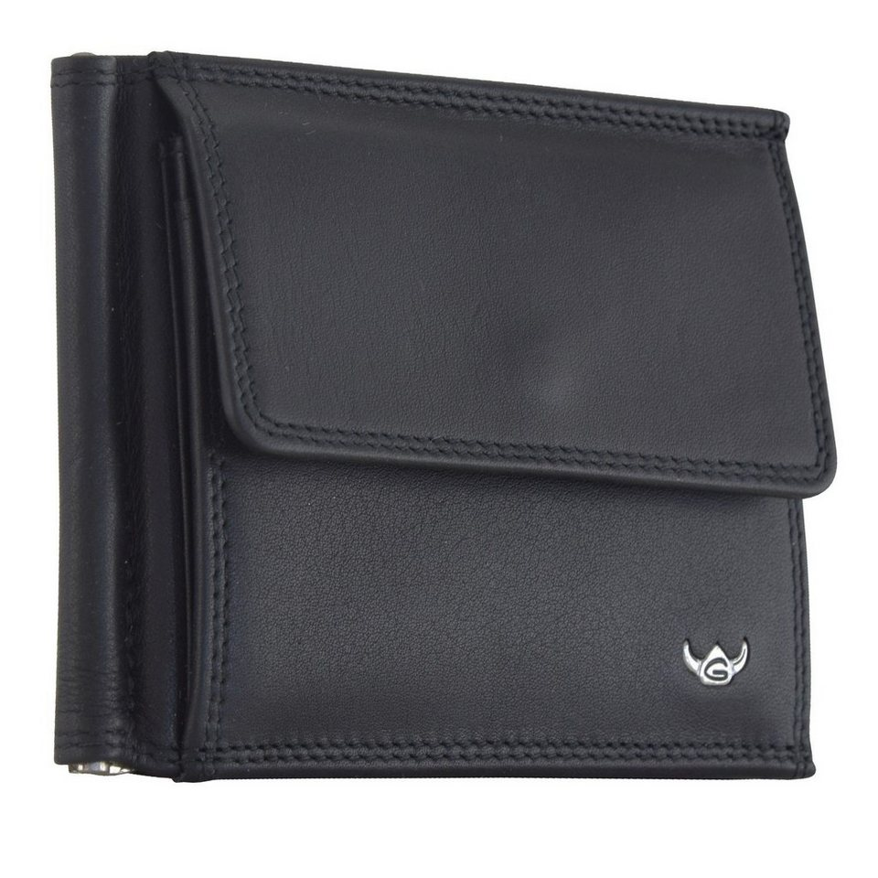 Golden Head Polo Dollarclip Leder 11 cm in schwarz