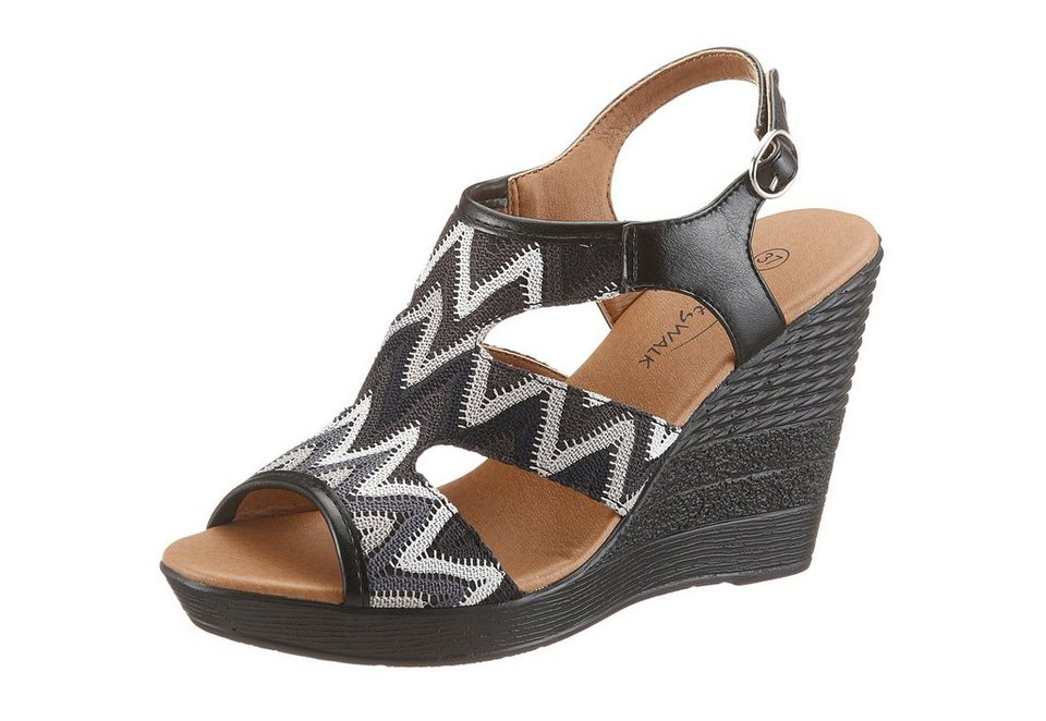 CITY WALK Keilsandalette in schwarz-multi