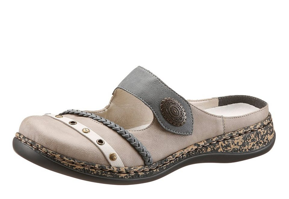 Rieker Clog in taupe-mehrfarbig