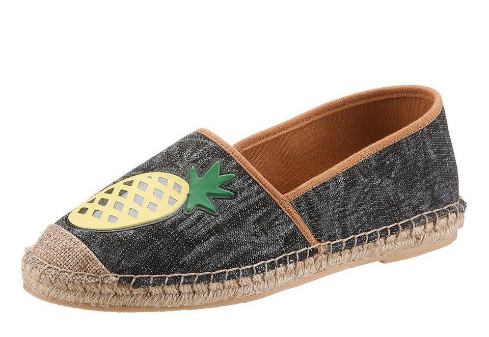Arizona Espadrille mit Obstmotiv in schwarz-ananas