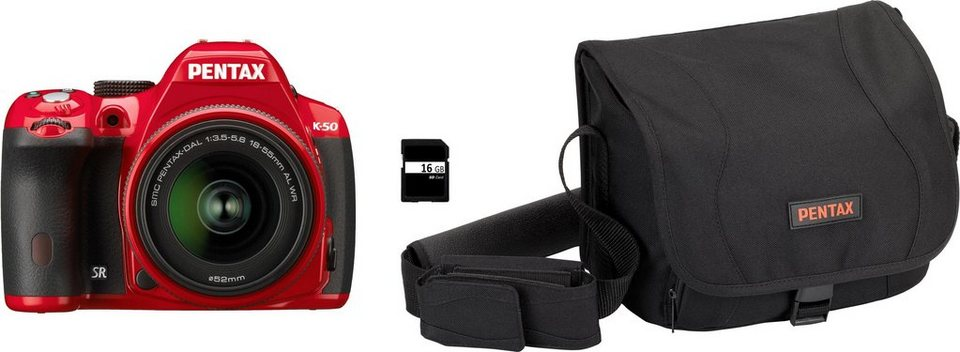 Pentax K-50 Spiegelreflex Kamera, PENTAX-DAL 18-55 AL WR F3,5-5,6 Zoom, inkl. Tasche, 16 GB in rot
