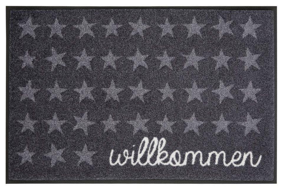 Fußmatte, wash+dry by Kleen-Tex, »Willkommen Sterne«, rutschhemmend beschichtet in grau-weiß